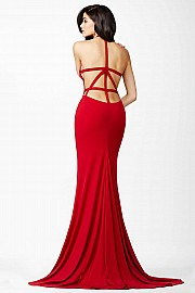 Red Halter Jersey Dress JVN25634
