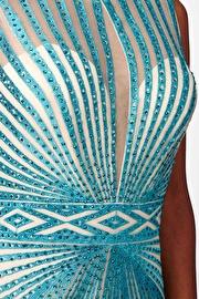 Turquoise Open Back Sleeveless Dress JVN26843