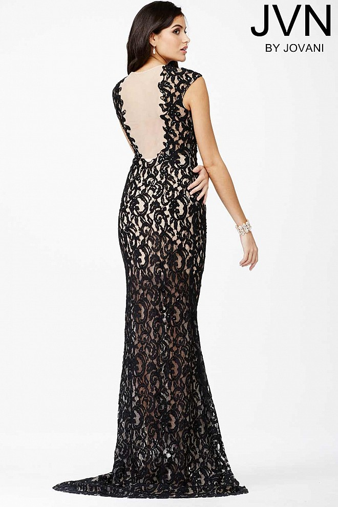 Black Lace V Neck Fitted Prom Dress With Sheer Neckline And Back