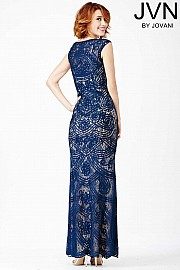 Blue Lace Prom Dress JVN27626