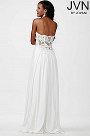White Strapless Prom Dress JVN30805