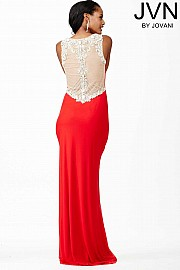 Red Plunging Neckline Dress JVN31415