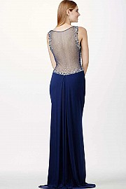 Navy Blue Sleeveless Dress JVN93844