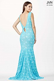 Turquoise Column Lace Prom Dress JVN23176