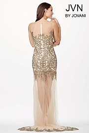 Nude Sheer Embellished Dress JVN31496