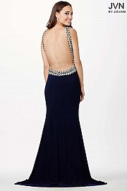 Navy Jersey Prom Dress JVN33696