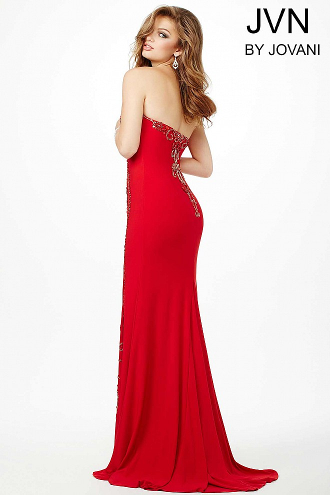 Red fully lined prom dress with crystal beading