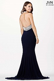 Navy Fitted Halter Jersey Dress JVN33932