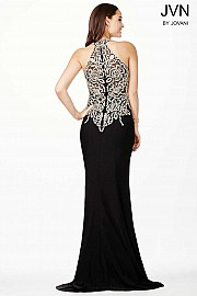 Black Halter Fitted Lace Black Dress JVN33691
