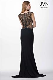 Black Sheer Neckline Fitted Dress JVN25407
