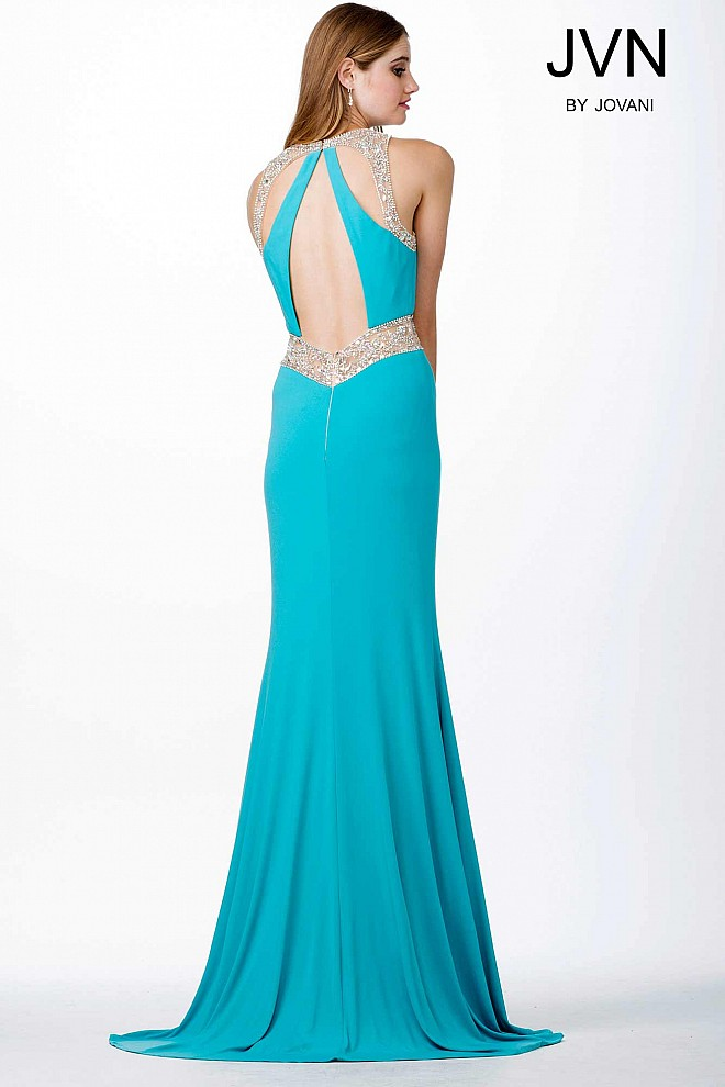 Aqua jersey prom dress with open back and sheer bodice