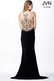 Black Beaded Sheer Bodice Dress JVN33377