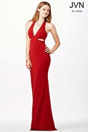 Red V-Neckline Jersey Dress JVN33908