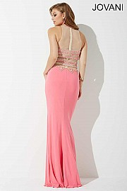 Coral Sheer Neckline Prom Dress JVNP31433