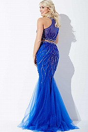 Royal Blue Two-Piece Embellished Dress JVN33698
