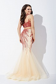 Red and Nude Two-Piece Mermaid Prom Dress  JVN36772