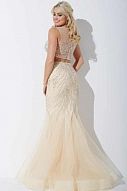 Nude Two-Piece Sexy Prom Dress JVN36891