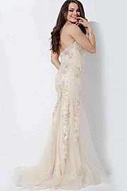 Nude Strapless Lace Applique Prom Dress JVN37048