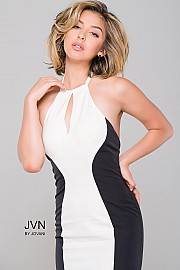 Halter Neck Black and White Dress JVN31454