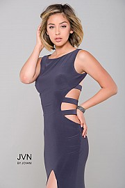 Grey High Slit Fitted Prom Dress JVN36715