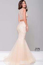 Nude Two-Piece Sheer Neckline Dress JVN36891