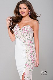 White High Slit One Shoulder Applique Dress  JVN41458
