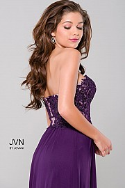Purple Sweetheart Neck Mesh Dress JVN41461