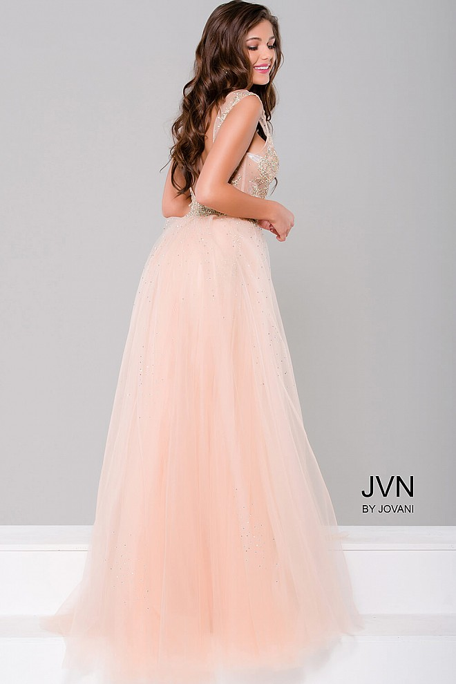 75b1fe84b1a5b Blush and nude plunging neckline column dress with tulle overlay.