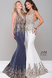 White Halter Neck Open Back Prom Dress JVN41761