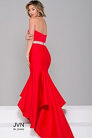 Red Strapless High Low Bridesmaid Dress JVN41956