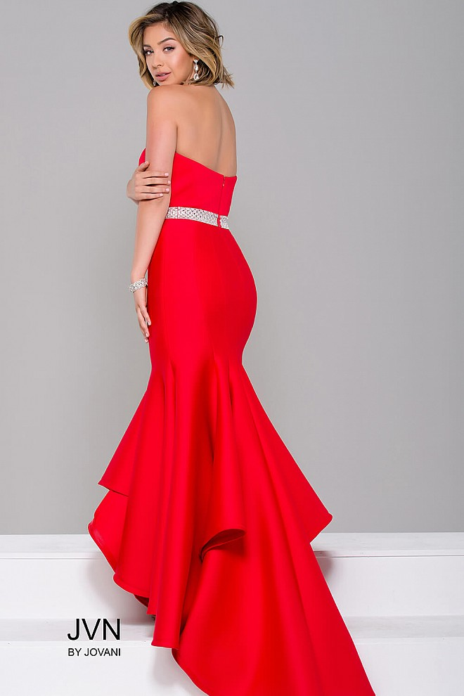 Red sweetheart neck fit scuba long dress with embellished waistline.