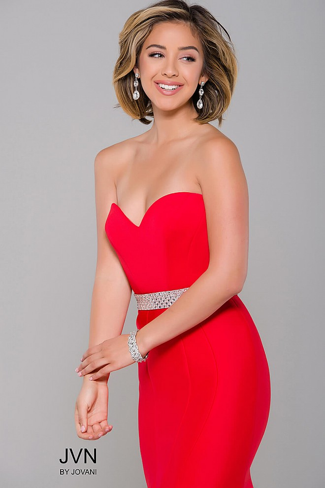 307c8140b3 Red sweetheart neck fit scuba long dress with embellished waistline.