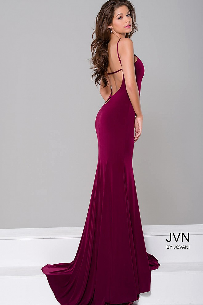 5fa2cf91ee Burgundy fit jersey open back halter neck mermaid prom dress.