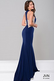 Navy Sleeveless Fitted Dress JVN45256