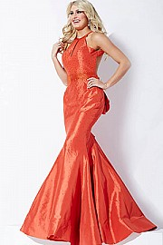 Orange Backless Prom Dress JVN33064