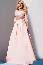 Pink Two Piece Beaded Bodice Dress JVN24572