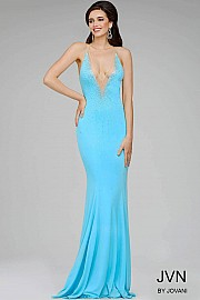 Blue Fitted Beaded Jersey Prom Dress JVN27108