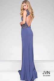 Fitted Jersey Open Back Beaded Bodice Dress JVN27818