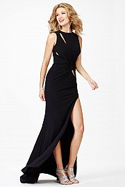 Black Fitted High Slit Long Prom Dress JVN3062