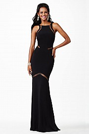 Black Fitted Open Back Jersey Dress JVN3072