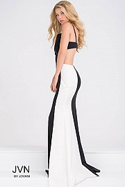 Black and White Open Back Fitted Dress JVN31458