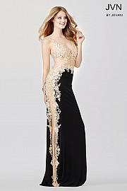 Black and Nude Sheer Lace Applique Prom Dress JVN33488
