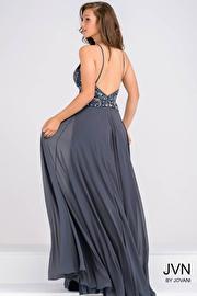 Charcoal Halter Neck Chiffon Prom Dress JVN33700