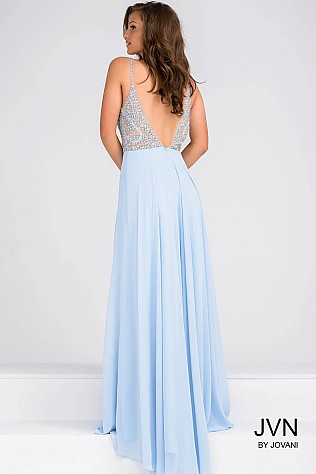 Blue Spaghetti Strap Beaded Bodice Chiffon Dress JVN33701