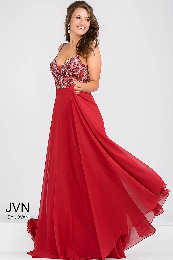 36e7b66203204 Red spaghetti strap chiffon prom dress with plunging neckline and ...