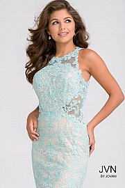 Blue Sleeveless Fitted Lace Long Dress JVN36779
