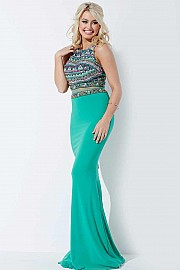 Green Mermaid Beaded Bodice Prom Dress JVN36888