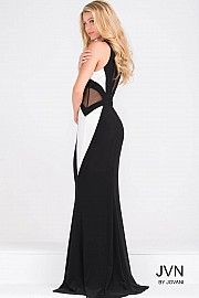 Sleeveless Fitted Jersey Dress with Sheer Panels JVN41548