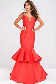 Red Open Back Mermaid Prom Dress JVN41679