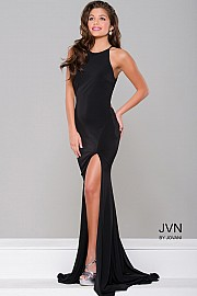 Red High Slit Halter Neck Long Prom Dress JVN43004